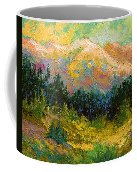 Alaska Coffee Mug featuring the painting Summer High Country by Marion Rose
