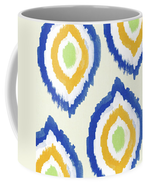 Blue Coffee Mug featuring the painting Summer Ikat- Art by Linda Woods by Linda Woods
