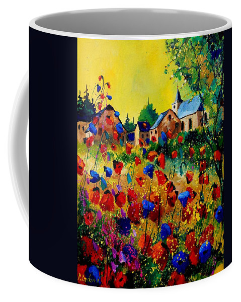 Poppy Coffee Mug featuring the painting Summer in Sosoye by Pol Ledent