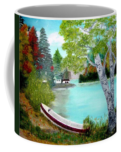Beautiful Bracebridge Ontario Oil Painting Coffee Mug featuring the painting Summer In The Muskoka's by Peggy Holcroft
