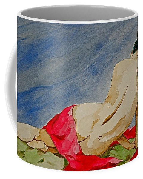 Nudes Red Cloth Coffee Mug featuring the painting Summer Morning 2 by Herschel Fall