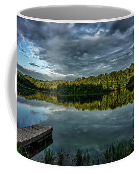 Big Ditch Lake Coffee Mug featuring the photograph Summer Morning At The Dock by Thomas R Fletcher