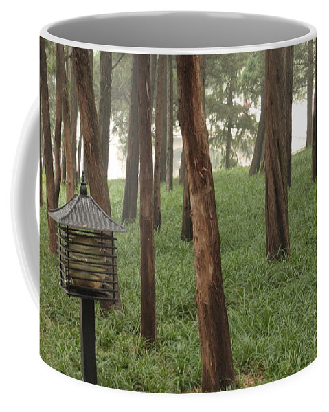 Summer Palace Coffee Mug featuring the photograph Summer Palace Trees And Lamp by Carol Groenen