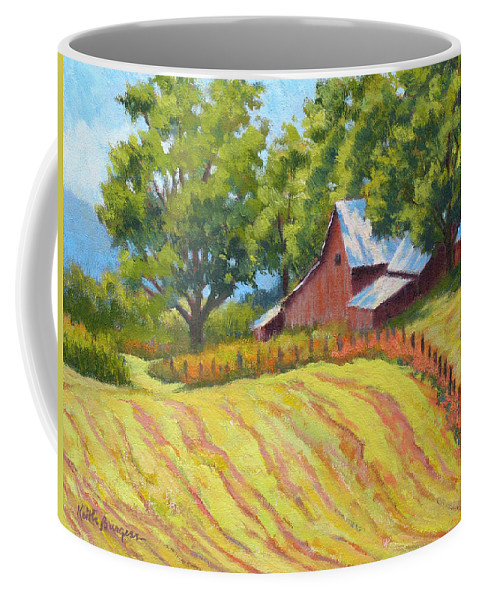 Landscape Coffee Mug featuring the painting Summer Patterns by Keith Burgess