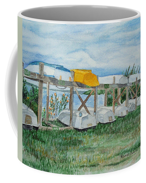 Rowboats Coffee Mug featuring the painting Summer Row Boats by Dominic White