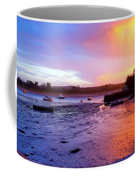 Yellow Pink And Blue Clouds Coffee Mug featuring the photograph Summer Sunset At Low Tide by Harriet Harding