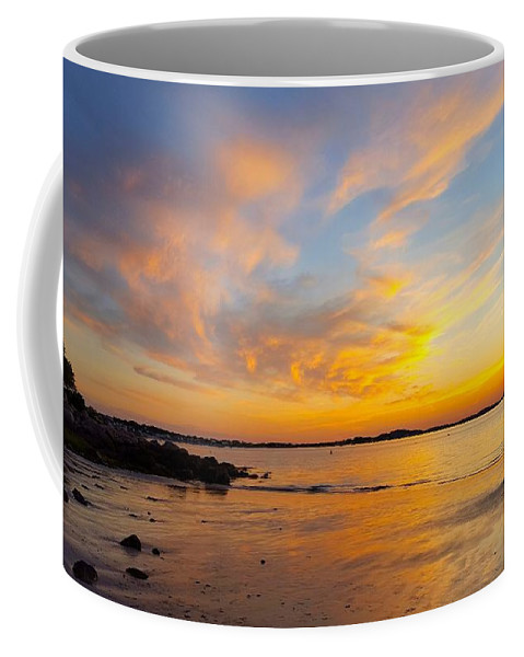 Yellow And Orange Sunset Coffee Mug featuring the photograph Summer Sunset Over Ipswich Bay by Harriet Harding