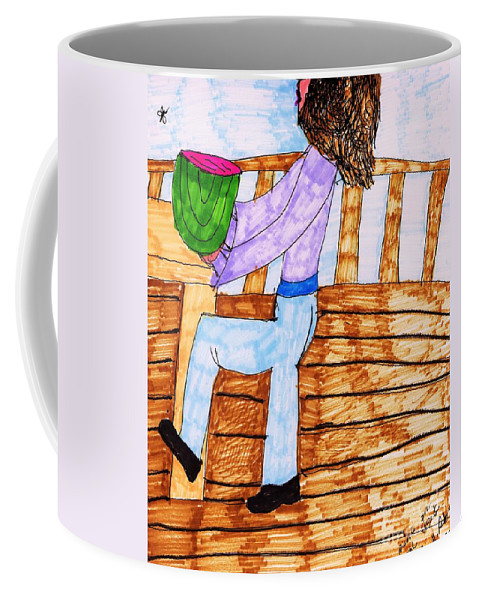 Lunch Coffee Mug featuring the mixed media Summers Lunch by Elinor Helen Rakowski