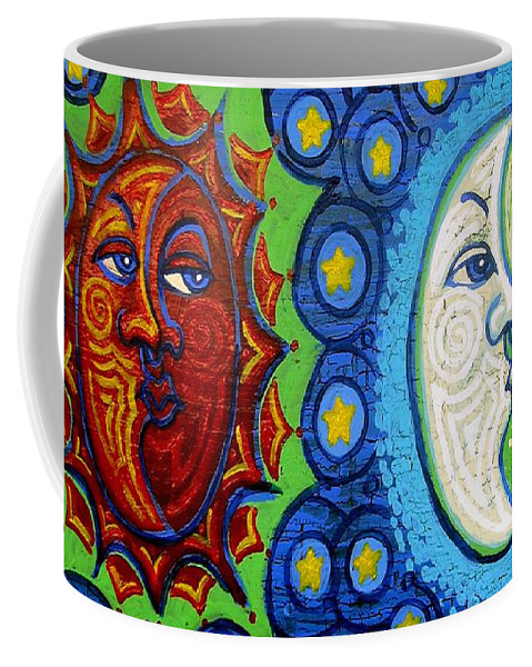 Sun Coffee Mug featuring the painting Sun And Moon by Genevieve Esson