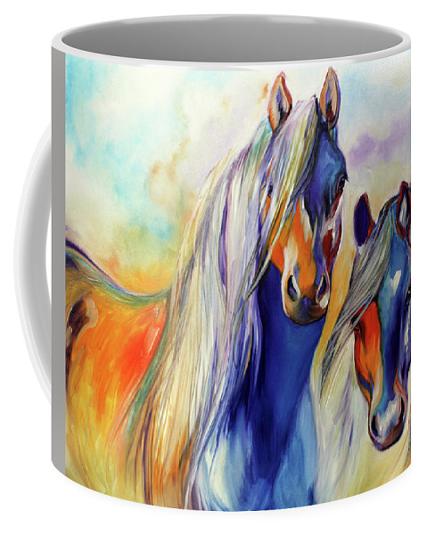 Marcia Coffee Mug featuring the painting Sun And Shadow Equine Abstract by Marcia Baldwin