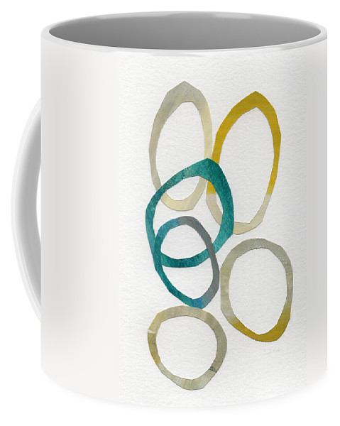 Abstract Art Coffee Mug featuring the mixed media Sun and Sky- abstract art by Linda Woods