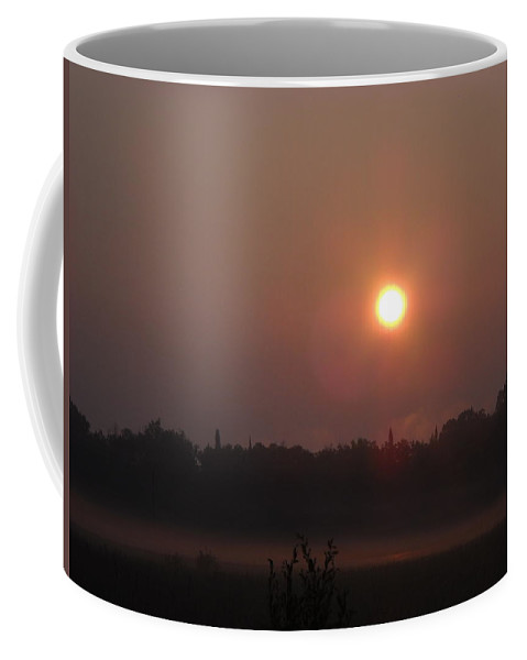 Sunrise Coffee Mug featuring the photograph Sun Burning Off Fog In June by Kent Lorentzen