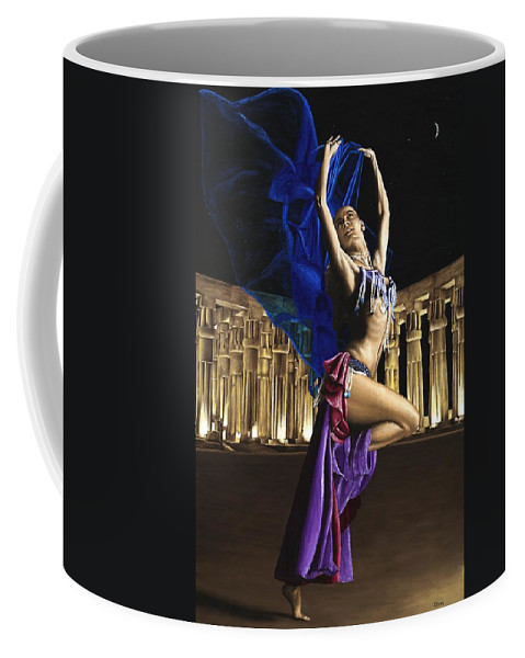 Belly Coffee Mug featuring the painting Sun Court Dancer by Richard Young