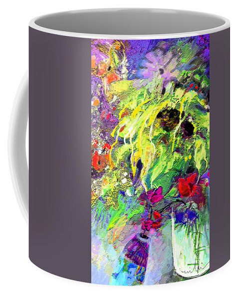 Still Life Coffee Mug featuring the painting Sun Flower Bouquet by Miki De Goodaboom