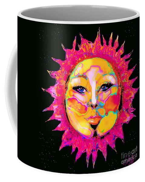 Strong Sensual Female Sun Face Portrait Surrounded Bystars Coffee Mug featuring the digital art Sun Goddess She Sun by Expressionistart studio Priscilla Batzell