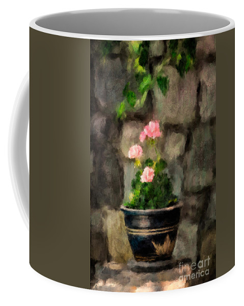 Geranium Coffee Mug featuring the photograph Sun Kissed Pinks by Lois Bryan