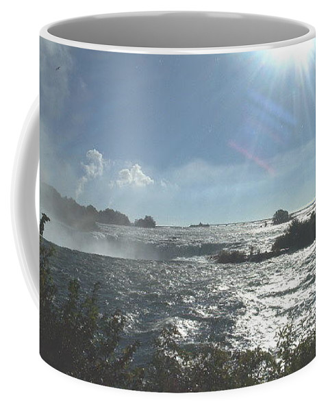 Landscape Coffee Mug featuring the photograph Sun On The Falls by Debbie Levene