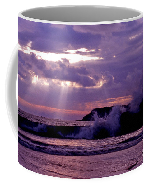 Clouds Coffee Mug featuring the photograph Sun Pokes Though Clouds By Stormy Sea by Sven Brogren