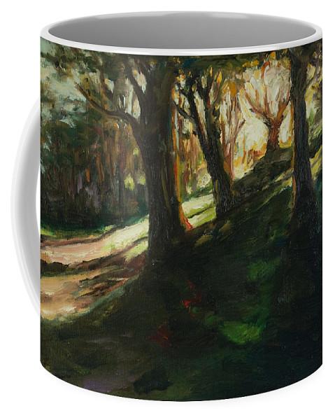 Trees Coffee Mug featuring the painting Sun by Rick Nederlof