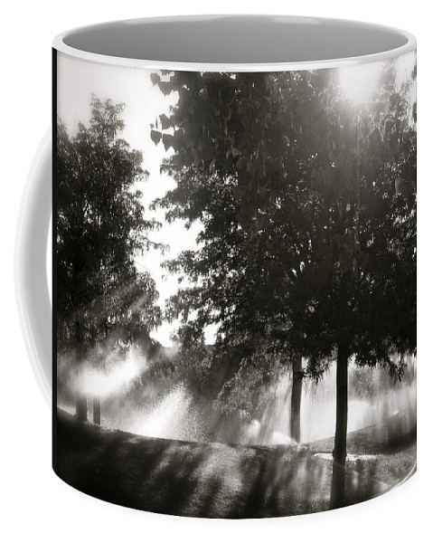 Black And White Coffee Mug featuring the photograph Sun Showers by Mark David Gerson