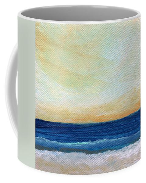 Beach Coffee Mug featuring the mixed media Sun Swept Coast- Abstract Seascape by Linda Woods