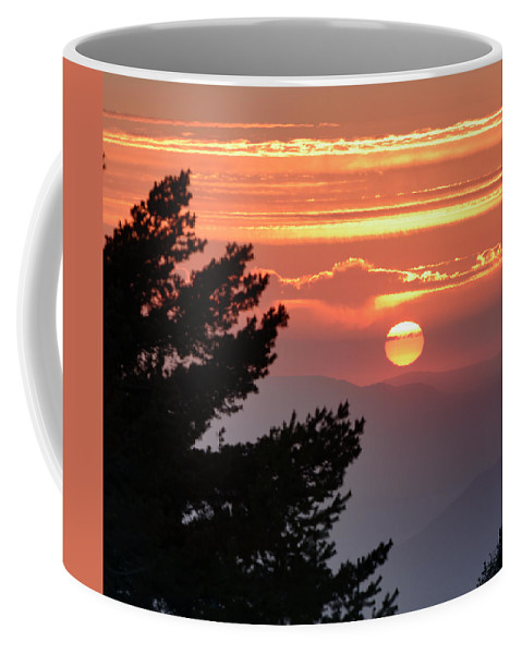 Sunset Coffee Mug featuring the photograph Sun Through The Clouds And Trees Sunset At The Mountains by Guido Montanes Castillo