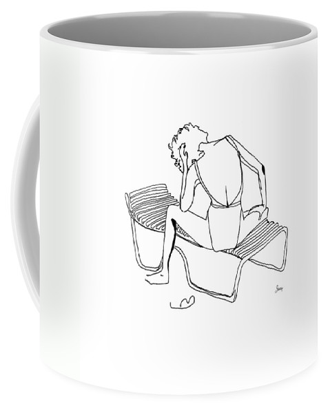 Female Coffee Mug featuring the drawing Sunbather by Shelley Myers