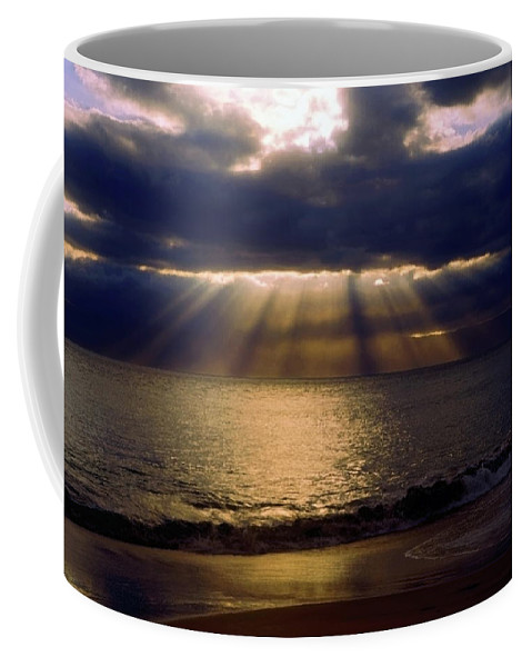 Sunbeams Radiating Through Clouds Before Sunset Coffee Mug featuring the photograph Sunbeams Radiating Through Clouds Before Sunset by Sally Weigand