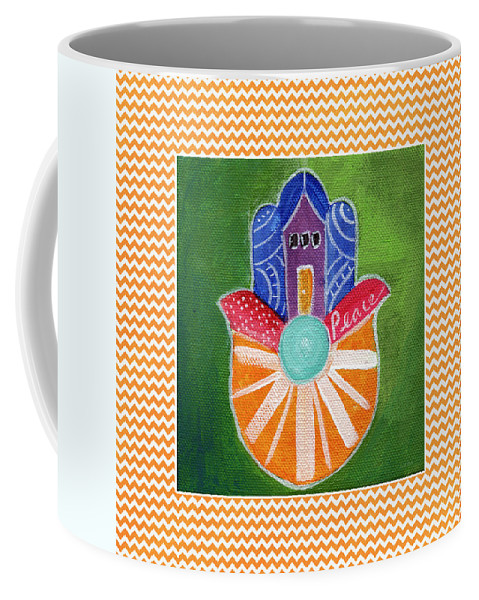 Hamsa Coffee Mug featuring the painting Sunburst Hamsa With Chevron Border by Linda Woods
