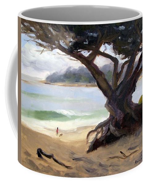 Monterey Cypress Coffee Mug featuring the painting Sunday Afternoon Carmel Beach by Karin Leonard