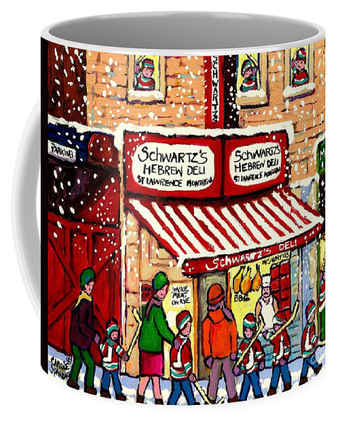 Montreal Coffee Mug featuring the painting Sunday Lineup at the Deli by Carole Spandau
