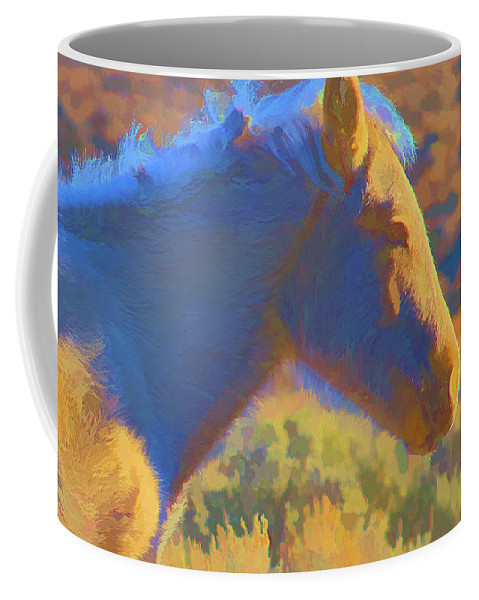 Red Coffee Mug featuring the digital art Sunday Morning At The Red Willows by Charles Muhle
