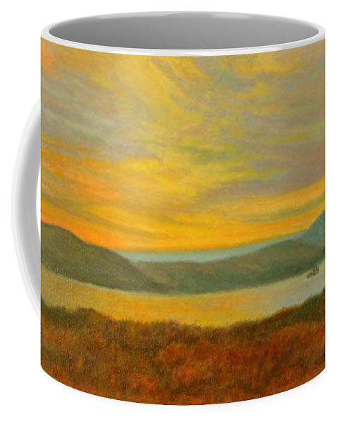 Landscape Coffee Mug featuring the painting Sundown Over High Tor by Phyllis Tarlow