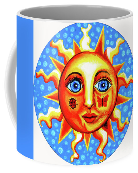 Sun Coffee Mug featuring the painting Sunface With Ladybug by Genevieve Esson