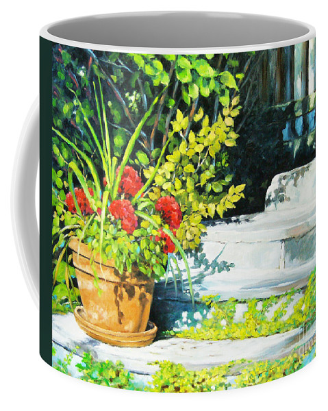 Art Coffee Mug featuring the painting Sunfilled Steps 01 by Richard T Pranke