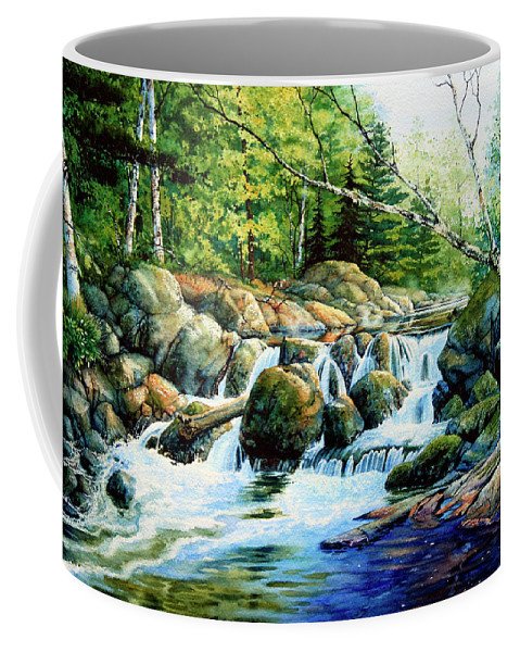 Muskoka Morning Landscape Coffee Mug featuring the painting Sunfish Creek by Hanne Lore Koehler
