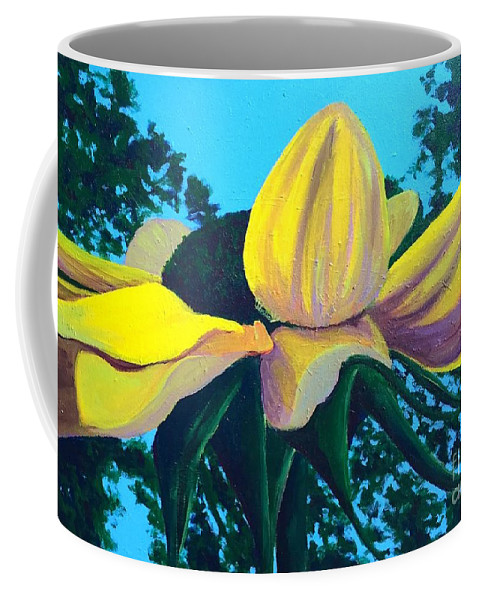 Landscape Coffee Mug featuring the painting Sunflower And Spider by Kristine Vander Velde