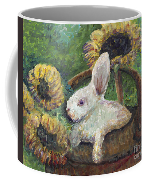 Sunflowers Coffee Mug featuring the painting Sunflower Basket Surprise by Nadine Rippelmeyer