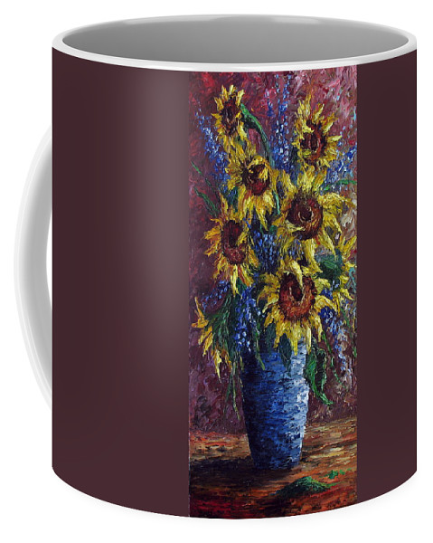 Flowers Coffee Mug featuring the painting Sunflower Bouquet by David G Paul
