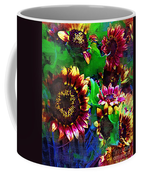 Sunflowers Coffee Mug featuring the painting Sunflower Carnival by RC DeWinter