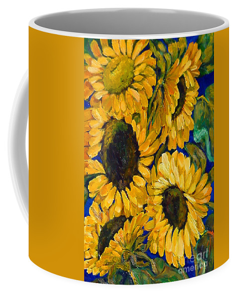 Flowers Coffee Mug featuring the painting Sunflower Faces by Beverly Boulet