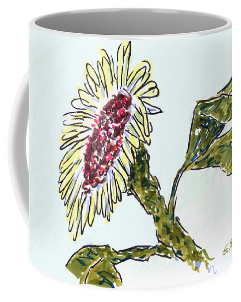 Sunflower Coffee Mug featuring the mixed media Sunflower by Gary Strahan