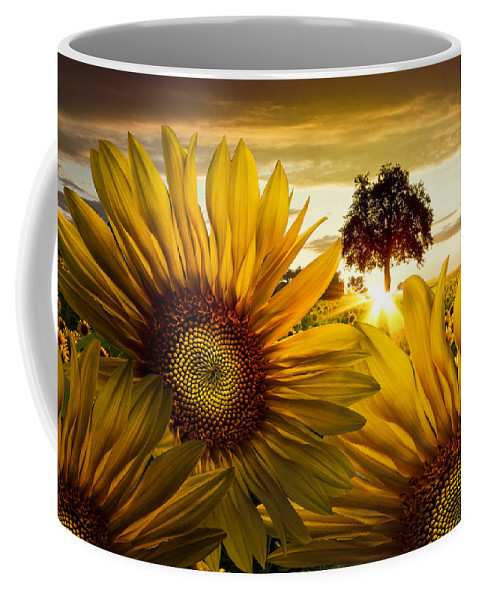 American Coffee Mug featuring the photograph Sunflower Heaven by Debra and Dave Vanderlaan