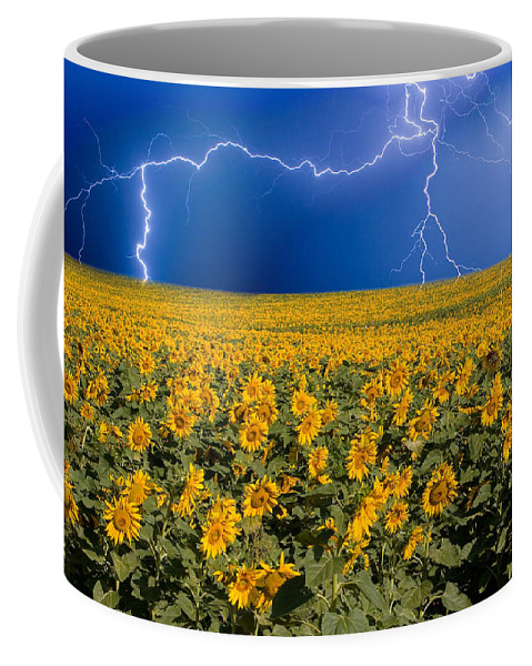 Sunflowers Coffee Mug featuring the photograph Sunflower Lightning Field by James BO Insogna