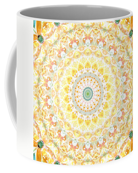 Sunflower Coffee Mug featuring the painting Sunflower Mandala- Abstract Art by Linda Woods by Linda Woods
