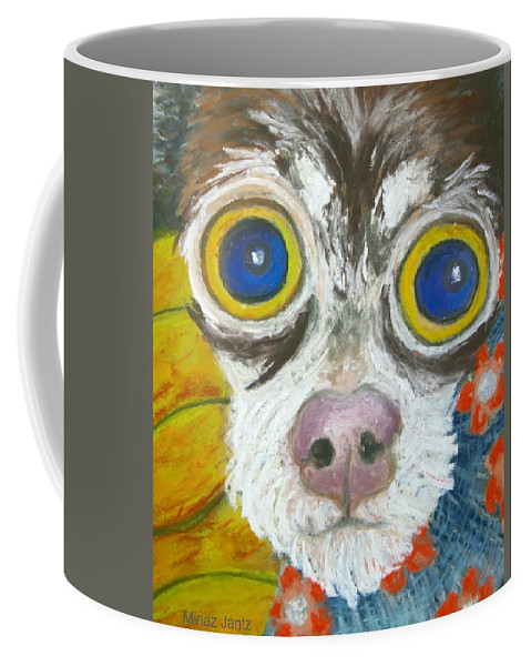Chihuahua Coffee Mug featuring the painting Sunflower Sally close-up by Minaz Jantz