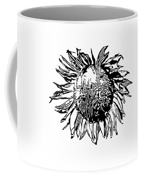 Sunflower Coffee Mug featuring the digital art Sunflower Silhouette by Miroslav Nemecek
