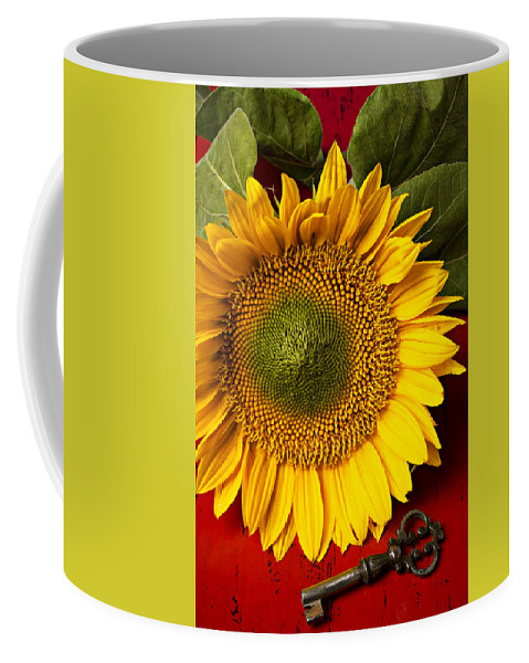 Sunflower Coffee Mug featuring the photograph Sunflower With Old Key by Garry Gay