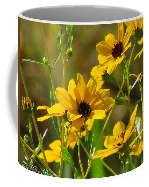 Sunflowers Coffee Mug featuring the photograph Sunflowers Along The Trail by Barbara Bowen