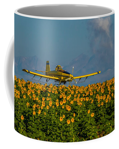 Rocky Mountains Coffee Mug featuring the photograph Sunflowers And Crop Duster by Vicki Stansbury